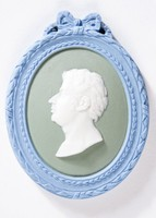 Oval tri-color jasper (blue, green, and white) medallion with white relief profile portrait of Mozard (Mozart?), with blue self-frame