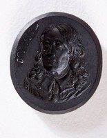 """Oval black basalt intaglio, two-sided with cypher on one (""""W S""""), and Benjamin Franklin on the other"""