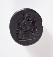 Oval self-shanked black basalt intaglion with Endymion on Mount Latmos