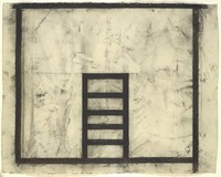 On a background smudged with black charcoal appears a large black square and a ladder-like shape jutting up vertically from the lower edge of the square.