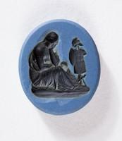 """Oval blue jasper Nicolo intaglio with black scene of the """"Conquered Province"""""""