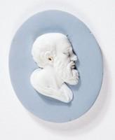 Oval blue jasper medallion with white relief profile portrait of Epicurus