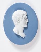 Oval blue jasper medallion with white relief profile portrait of Q Flaminius