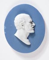 Oval blue jasper medallion with white relief profile portrait of Seneca
