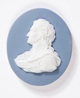Oval blue jasper medallion with white relief profile portrait of John Locke