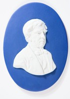 Oval dark blue jasper medallion with relief three-quarter portrait of Oliver Wendell Holmes