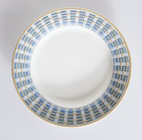 Tri-color jasperware strapware plate with  (white, blue and beige). the jasperware is made to similate strapwork
