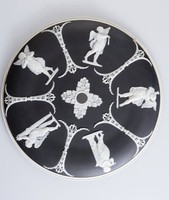 Black jasper ceiling light fixture plate with white relief decoration of various classical reliefs