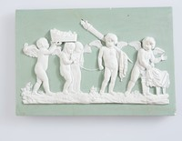 """Rectangular plaque of white jasper with green jasper dip and white relief decoration with """"The Marriage of Cupid and Psyche."""""""