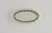 Oval tri-color jasper (white, sage green, and lilac) jasper cameo with relief leaf garland decoration