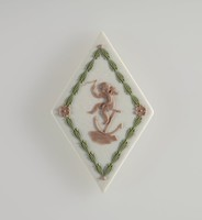 Diamond-shaped tri-color jasper (white, sage green, and lilac) cameo with lilac relief putto with anchor, and green leaf garland