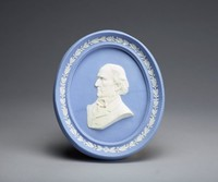 Oval blue jasper medallion with white relief profile portrait of Gladstone (1809-1898), self-framed. He was a British Liberal and earlier conservative politician. In a career lasting over 60 years, he served as Prime Minister four separate times (1868–74, 1880–85, February–July 1886 and 1892–94), more than any other person, and served as Chancellor of the Exchequer four times. Gladstone was also Britain's oldest Prime Minister; he resigned for the final time when he was 84 years old.
