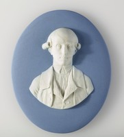 Oval blue jasper medallion with white relief portrait of Warren Hastings (1732-1818), an English statesman, was the first Governor of the Presidency of Fort William (Bengal), the head of the Supreme Council of Bengal, and thereby the first de facto Governor-General of India from 1772 to 1785. He was accused of corruption and impeached in 1787, but after a long trial he was acquitted in 1795. He was made a Privy Counsellor in 1814.