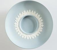 Blue jasper socket saucer with white relief acanthus leaf decoration