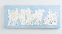 Rectangular light blue jasper plaque with white relief scene of Priam begging for the body of his son Hector, broken at center and repaired