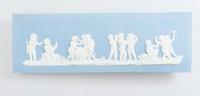 Rectangular blue jasper plaque with white relief scene of Cupids in the arts, break with old metal staple repair