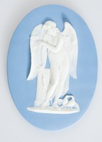 Oval blue jasper medallion with white relief of winged Cupid?, holding bow, looking at butterfly, with two doves at feet