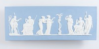 Rectangular blue jasper plaque with white relief scene of Hercules in the Garden of the Hesperides, depicting one of Hercules' twelve labors, given to him by Eurystheus, to steal the Golden Apples of immortality from the Garden of the Hesperides on Mt. Atlas. Originally modelled by John Flaxman in 1787