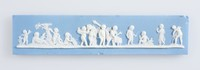 Long rectangular blue jasper plaque with white relief scene, depicting the Marriage of Cupid and Psyche in the middle flanked by cupids under a tree to the left and figures from the domestic employment to the right. broken and repaired