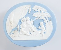 Oval blue jasper plaque with white relief scene depicting a Music lesson, a companion piece to the Infact Academy. Modelled by Hackwood c.1785