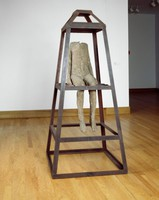 Figure in Iron Trapezoid, Magdalena Abakanowicz, burlap, resin, iron