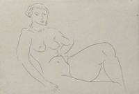 An outline of a reclining nude woman with a pearl necklace.