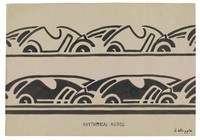 Rhythmical Autos, Jane Randolph Whipple, ink on buff paper