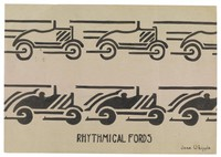 Rhythmical Fords, Jane Randolph Whipple, ink on buff paper