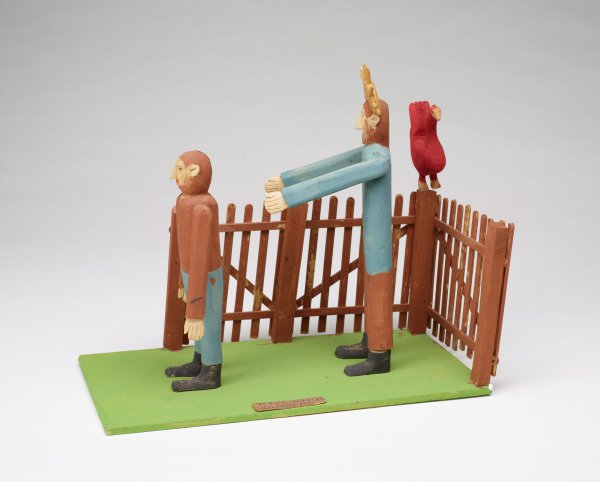 Peter wearing brown shirt, Jesus in blue, with red rooster by fence.