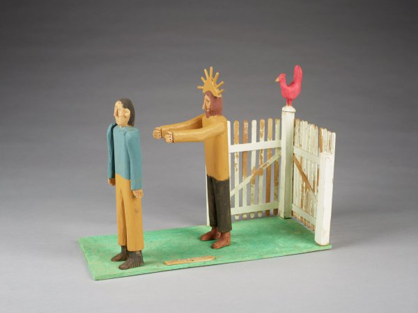 Peter wearing blue shirt, Jesus in tan, with red rooster on white fence.