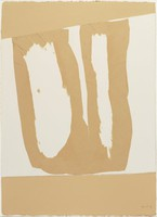 Beige Double Figuration, Robert Motherwell, beige acrylic and collage of torn paper with graphite on wove paper
