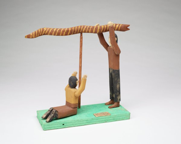 Moses and the Brazen Serpent, Fred Webster, painted wood