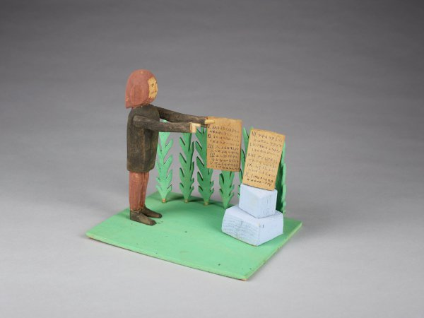 Moses and the Ten Commandments, Fred Webster, painted wood