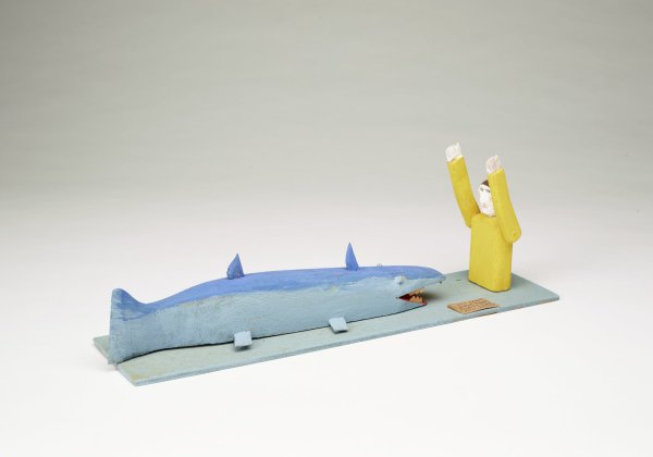 Jonah and the Whale, Fred Webster, painted wood