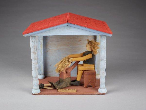 Samson and Delilah, Fred Webster, painted wood