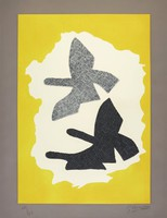 The stylized birds (one hatched black and white, the others black and dark gray) on white ground, on yellow background, with gray edge.