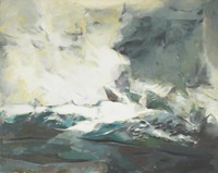 Semi-abstract composition with turbluent blue sea; cresting waves create white spray at left.