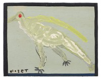 Yellow bird on gray background.