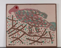 Gray bird wtih pink head adn blue, aqua, and white spots, with sticks on ground.
