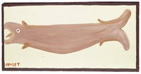 Untitled (Brown Fish), Mose Tolliver, paint on wood board
