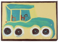 Untitled (Blue Bus), Mose Tolliver, paint on wood board