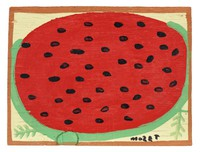 """Painting on wood board of sectional view of a watermelon on a pale yellow background. A rusty orange border around the centeralized image. Two small green feathered forms at the bottom of painting on either side of the watermelon. The artist signed his name at bottom right in black paint """"mo?E T"""", with an inverted """"S"""", almost resembling a """"Z""""."""