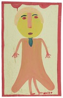 Untitled (Woman in Red Dress), Mose Tolliver, paint on wood board