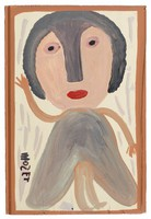 Untitled (Woman in Gray Dress, Waving), Mose Tolliver, paint on wood board