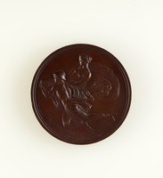 Bronze commemorative medal with relief profile portrait of John Flaxman on one side, and relief scene of Mercury supporting Pandora flying left on the other