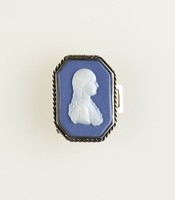 Octagonal dark blue jasper cameo with white relief profile portrait of woman, set in silver as a buckle, pairs with AFI.3677.2008.2
