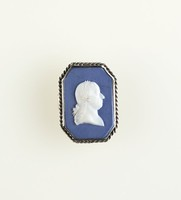 Octagonal dark blue jasper cameo with white relief profile portrait of a man, set in silver as a buckle, pairs with AFI.3677.2008.1, cracked