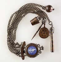 Chatelaine, Wedgwood, stoneware (jasperware) and cut steel
