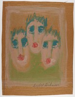 Untitled (Three Faces), Sybil Gibson, tempera on brown paper