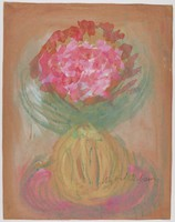 Untitled (Vase of Pink Flowers), Sybil Gibson, tempera on brown paper